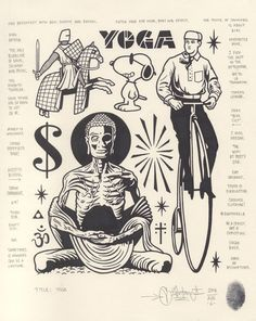 """""""Yoga"""", Available now along with 19 other original drawings at Flash Art Tattoos, Tattoo Flash Sheet, Body Art Tattoos, Mike Giant, Dessin Old School, Tattoo Filler, Dark Art Illustrations, Special Tattoos, Arm Art"""