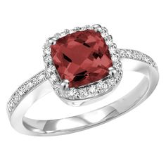 Majesty Diamonds - 1 4/5 CTW Cushion Cut Garnet and Diamond Cocktail Ring in 14K White Gold #cocktail #ring #gemstones #diamonds #pretty