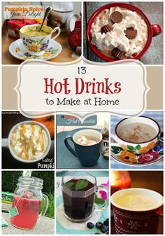 13 Hot Drinks to Make at Home - Pumpkin spice java, blueberry mint tea, Nutella hot chocolate, salted caramel pumpkin latte.