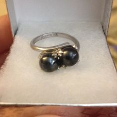 Beautiful sterling silver ring with black pearls Gorgeous ring, is stamped and can be sized! (Not sure about size but it fits on my ring finger loosely so I'm guessing around 6.5/7 range) Jewelry Rings