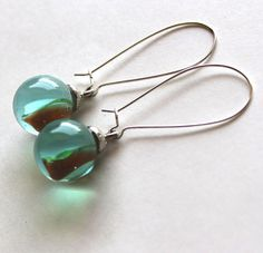 Earrings glass marble 1940's1960's by Bunnys on Etsy, $18.00