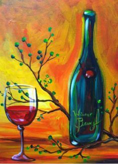 Image result for how to paint wine glass canvas