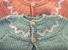 Image of Hand Knitted Unisex Baby Cardigan Wool & Silk - Orange
