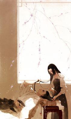 Amazing illustration by Chinese illustrator Ibuki Satsuki 伊吹五月 Chinese Artwork, Chinese Drawings, Chinese Painting, Fantasy Kunst, Anime Fantasy, Fantasy Art, Art Asiatique, L5r, China Art