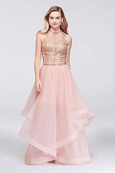 c0836e5b204 View Long City Triangles Dress at David s Bridal Neon Prom Dresses