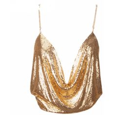 'Camille' Mesh Sequin Top Gold (71 BGN) ❤ liked on Polyvore featuring tops, gold mesh top, mesh top, sequin embellished top, gold crop tops and white top