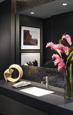 Bath room dark modern powder rooms ideas for 2019 Contemporary Bathrooms, Modern Bathroom Design, Modern Interior Design, Bathroom Designs, Modern Contemporary, Powder Room Decor, Powder Room Design, Modern Powder Rooms, Modern Room