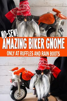Christmas Crafts To Make And Sell, Diy Christmas Gifts, Simple Christmas, Holiday Crafts, Christmas Decor, Biker Gnomes, Gnome Tutorial, Adornos Halloween, Diy Halloween