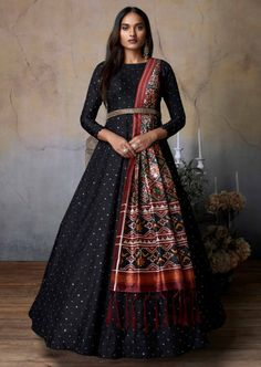 Buy Mid Night Blue Anarkali Suit In Silk With Embroidered Bodice Online - Kalki Fashion