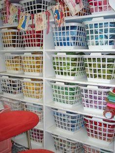 Fabric Organization... dollar store laundry baskets