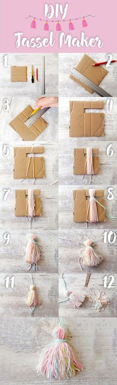This is the easiest way to make tassels with this diy tassel maker! Check the fu… This is the easiest way to make tassels with this diy tassel maker! Check the full written instructions on this link! DIY ideas to try Pom Pom Crafts, Yarn Crafts, Sewing Crafts, Sewing Projects, Craft Projects, Sewing Tips, Diy Crafts To Sell, Crafts For Kids, Arts And Crafts