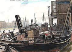 The Thames at the Angel, with the tug 'Samson' in the foreground · Rowland Hilder