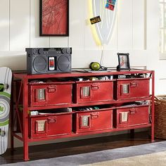 $699 Rockwell 6-Drawer Bookcase #pbteen - if you went with red accents, could this go under the window? too long and/or deep?