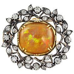 Edwardian Fire Opal Diamond Silver Gold Pin c1901-15 | 1stdibs.com