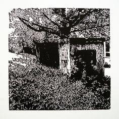 Saratovská 2692-11 [printmaking, cutting into MDF] #printmaking #woodcut #bunker #art