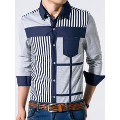 Trendy Turn-down Collar Stripes Print Splicing Slimming Color Block Long Sleeves Men's Shirt