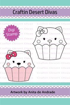 Cupcake Cutie Cat Digital Stamp - Craftin Desert Divas
