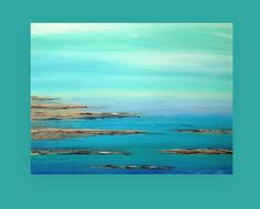 """Abstract Painting Acrylic Art,Fine Painting,Seascape Painting,Acrylic on Canvas by Ora Birenbaum, Titled: Turquoise Waters 36X48X1.5"""""""