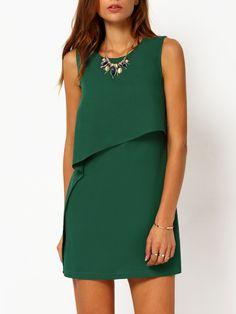 Vestido sin manga volantes -verde