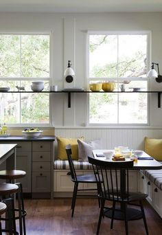 Farmhouse Kitchen with Banquette I Remodelista