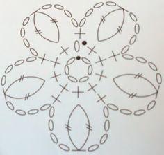 Flower pattern / Esquema para Flor Crochet Chart, Love Crochet, Irish Crochet, Crochet Motif, Crochet Flowers, Knit Crochet, Knitting Stitches, Knitting Patterns, Crochet Patterns