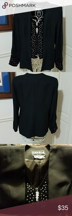Criscione Cache Jacket Black with front zipper and sparkles on the front and sleeves Criscione/Cache Jackets & Coats