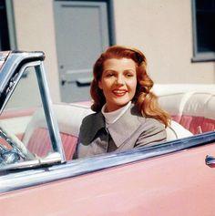 Rita Hayworth in her pink Buick Roadmaster Riviera, 1957...