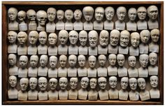 Set of sixty miniature heads used in phrenology in Manchester in now at the London Science Museum Vanitas, Phrenology Head, Crane, Cabinet Of Curiosities, Human Head, Science Museum, Medical History, Wooden Case, Miniatures