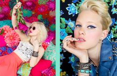 Left: Little White Lie Tank, Neon Silk Maxi Skirt / Right: Spiked Moto Jacket, Fringed Cross Earrings