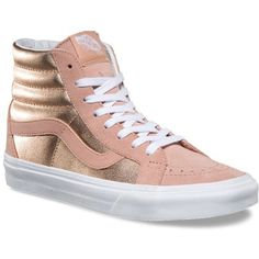 Vans 2-Tone Metallic SK8-Hi Reissue ($70) ❤ liked on Polyvore featuring shoes, sneakers, high top trainers, leather sneakers, vintage high top sneakers, leather shoes and metallic sneakers