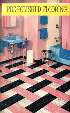 20 vintage pink bathrooms: See some wild bubblegum era midcentury home decor of the & Click Americana : 20 vintage pink bathrooms: Bubblegum era midcentury home decor of the and at Click Americana bathroom bathroomideas bathroom Retro Pink Bathroom, Retro Bathrooms, Retro Vinyl Flooring, Vintage Interiors, Vintage House, Retro, Retro Decor, Retro Renovation, Retro Home Decor