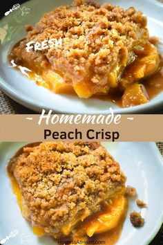 Easy Peach Crisp Recipe that uses fresh or frozen peaches. You'll love velvety peaches in a buttery brown sugar sauce and a crunchy streusel top with no oats. Healthy Peach Cobbler, Peach Crumble Pie, Easy Peach Pie, Crumble Recipe, Crisp Recipe, Fresh Peach Crisp, Fresh Peach Cobbler, Slow Cooker Recipes Dessert, Best Dessert Recipes