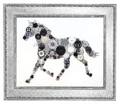 ATTENTION: This art is also available in print form under the section: Button Art Prints! An eye catching Black and White Horse on a white painted 8x10 canvas with lots of bling and special elements to make him truly unique. Of course, as usual, I dont spare the Swarovski rhinestones or any of the other sparkly elements. Hes a horse to melt your heart! If you're intrigued by my home photos (did my best), wait until you see the product in person, it will dazzle you! I've been an artist for…