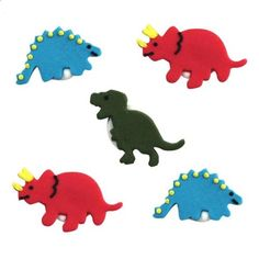 Dinosaur Sugar Toppers - Cake Decorations (Pack of Cute edible dinosaur cake decorations. 5 in a pack, 3 different designs: 2 x Red Triceratops, 2 x Blue Stegosaurus, 1 x Green T-Rex. Dinosaur Cake, Dinosaur Party, First Birthday Parties, Birthday Party Themes, Cupcake Toppers, Cupcake Cakes, Rainbow Snacks, Plastic Champagne Flutes, Plastic Table Covers