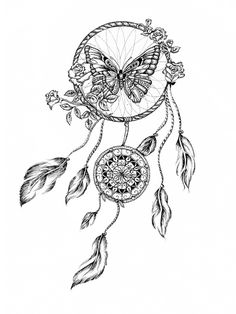 ▷ 1001 + ideas and pictures about dream catcher tattoo!- now we show you an idea for a tattoo with a dream catcher with white flowers, a butterfly and white roses Kunst Tattoos, Body Art Tattoos, Tattoo Drawings, Sleeve Tattoos, Memory Tattoos, Tattoo Sketches, Trendy Tattoos, Unique Tattoos, Small Tattoos