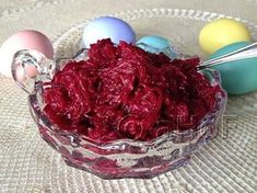 Beets with Horseradish. A recipe from my Serbian Grandmother, this is an Easter staple in my family. Serve it alongside ham or Polish sausage, on a ham sandwich. The perfect accompaniment to any Easter foods.
