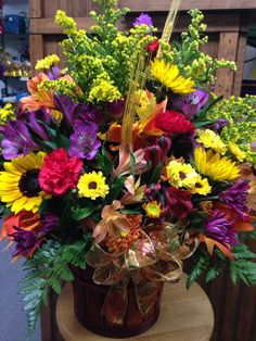 Fall fresh arrangement in Country cute basket