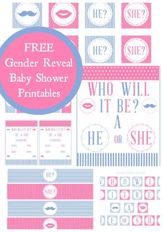 Free gender reveal baby shower printables! #genderreveal #babyshower #printables