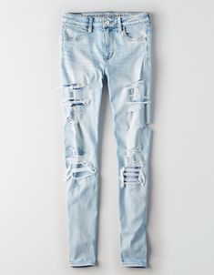 Shop women's jeans on sale at American Eagle to get great prices on your favorites. Browse discount and clearance jeans in fits like jegging, Mom, skinny, wide leg & more! Denim Leggings, Ripped Jeans, Shorts, Jeggings, Skinny Jeans, Cute Girl Outfits, Cute Casual Outfits, Simple Outfits For School, School Outfits