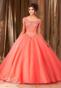 Stunning and gorgeous, Mori Lee Vizcaya Quinceanera Dress Style 89108 is sure to light up the room during any girl's Sweet 15 party. Made out of tulle, this Quince dress features a cap sleeved bodice