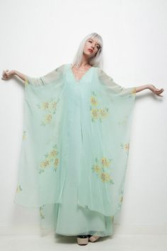 vintage 70s hostess maxi dress green cape floaty sheer floral