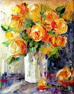 Palette Knife Yellow Rose Painting by A Texas Artist Laurie Pace, painting by artist Laurie Justus Pace