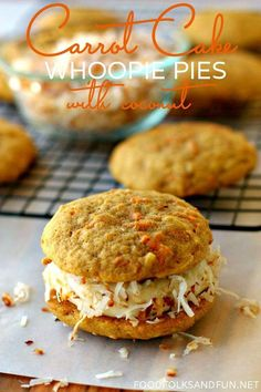Carrot Cake Whoopie Pies Recipe with Coconut | www.foodfolksandfun.net | #SpringEats