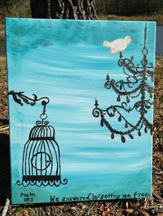 """""""He Set Me Free""""  16x20 original acrylic on stretched canvas ready to hang.    """"He answered me by setting me free."""" Psalm 118:5    $20.00"""