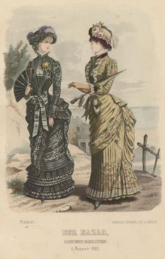 Der Bazar 1882. Victorian fashion plate, second bustle period.