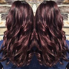 Beautiful fall color by @HaileyMahoneHair! She used #KenraColor equal parts 6RV & 5VR + a dot of 5N with some Violet Booster. #RedHair #VioletHair