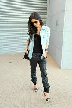 Love casual style?  Dress it up a bit with leather joggers.  Comfy and stylish.