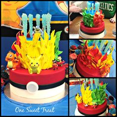 I made this cake to celebrate my son's birthday. I made this cake to celebrate my son's birthday. Pokemon Birthday Cake, New Birthday Cake, 9th Birthday Parties, Pokemon Party, Birthday Dinners, Pokemon Cakes, Pokemon Pizza, Birthday Bash, Pikachu