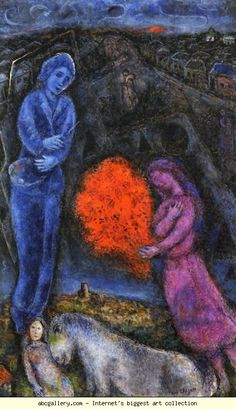 Marc Chagall. Saint-Paul de Vance at Sunset. Olga's Gallery.