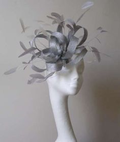 Silver Fascinator Hat for weddings/ascot